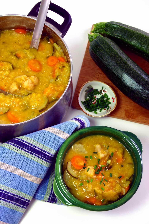 Linse- og grøntsagssuppe